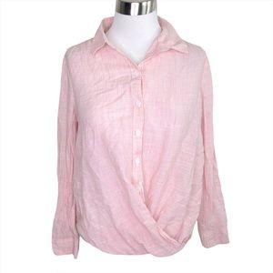 BeachLunchLounge Pink Striped Twist Hem Shirt Top